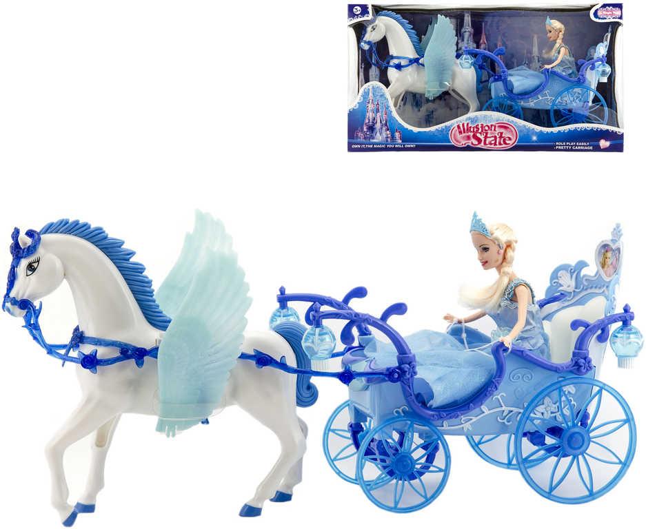 Panenka zimní princezna set s okřídleným koněm a kočárem na baterie Světlo