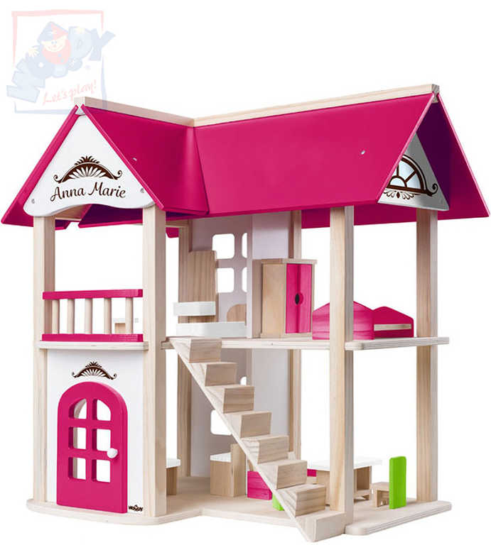 WOODY DŘEVO Vila Anna-Marie herní set dům s nábytkem a 2 panenkami