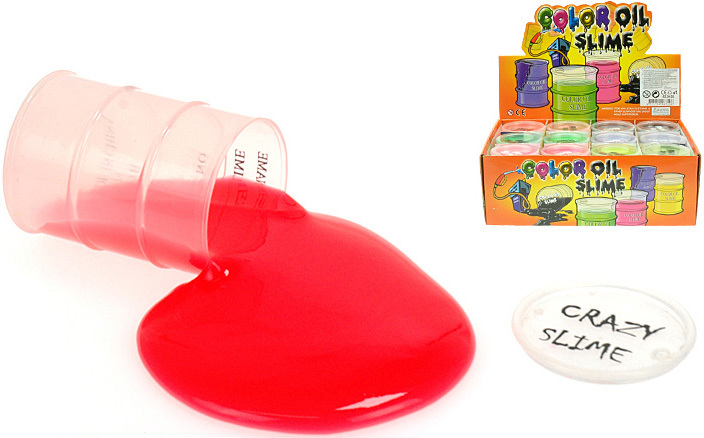 Barel se slizem 8x5,5cm zábavná hmota pro děti 6 barev