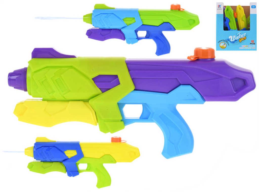 Pistole dětská vodní 42cm se zásobníkem na vodu 3 barvy plast