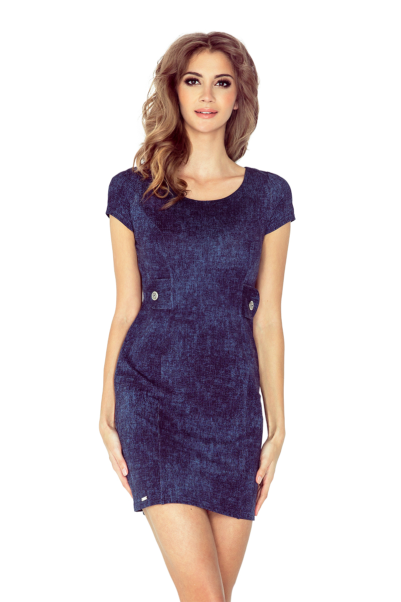 Džínově modré šaty se dvěma knoflíky model 4977582