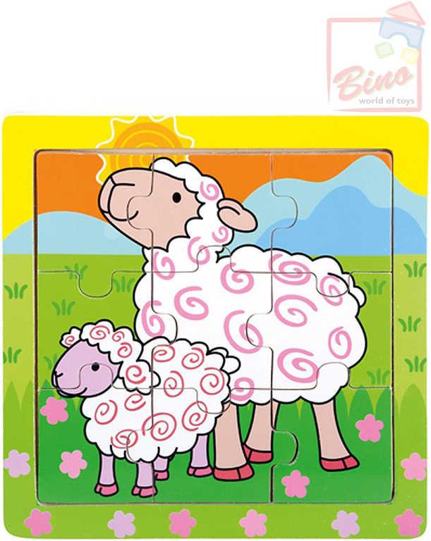 BINO DŘEVO Puzzle ovečky 9 dílků baby skládačka 12x12cm v rámečku
