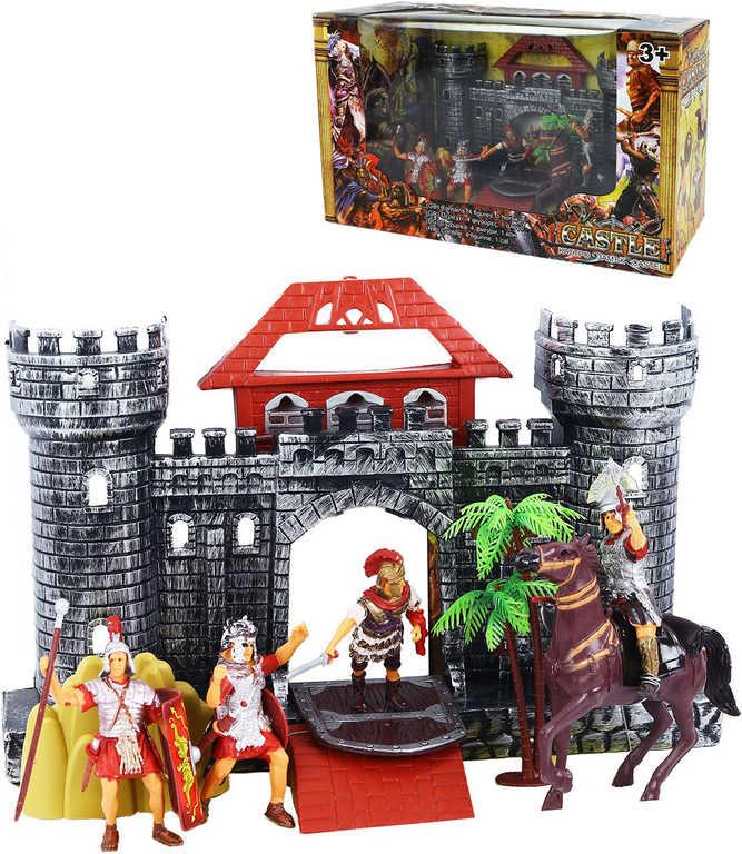 Herní set hrad s rytíři a koněm plast v krabici