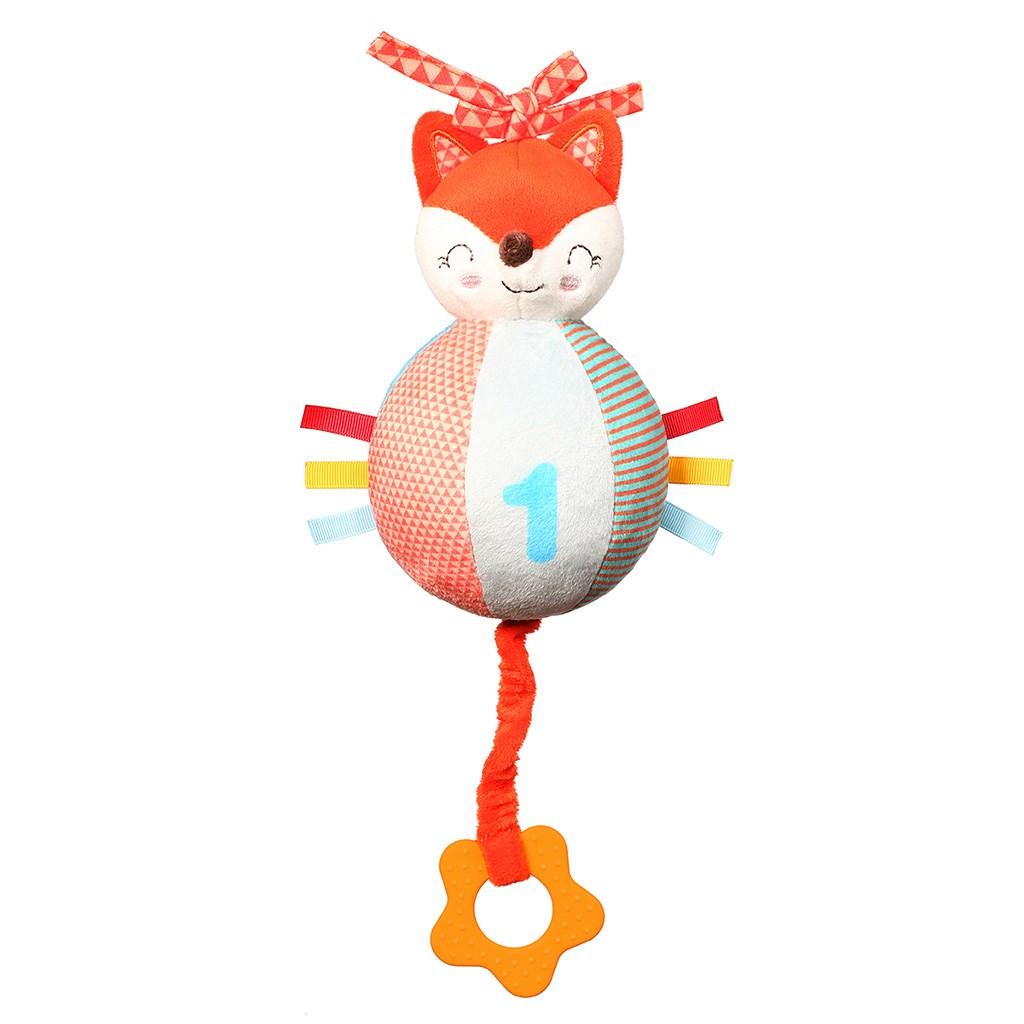 Plyšová hračka s hracím strojkem a kousátkem Baby Fox Vincent - oranžová