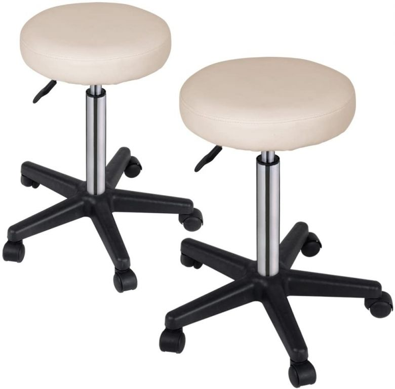 Sada stoliček na kolečkách, 2 ks, béžové