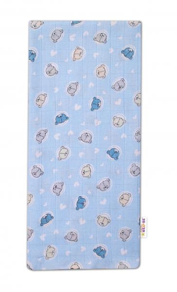 Baby Nellys Kvalitní bavlněná plenka - Tetra Premium, 70x80cm - Medvídek, modrá