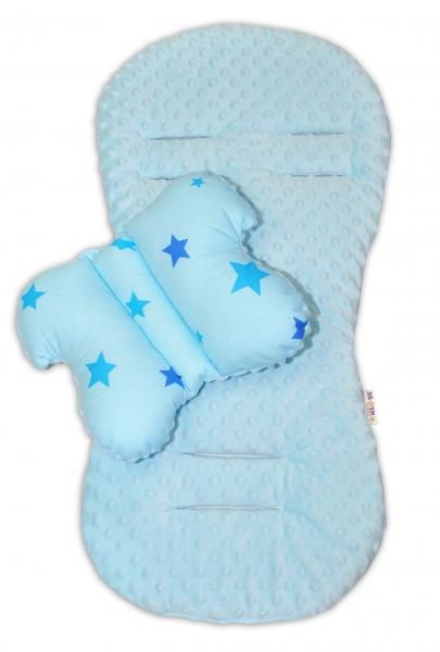 Baby Nellys Komfortní sada 2v1 Baby Stars s minky, polštářek a poduška - modrá