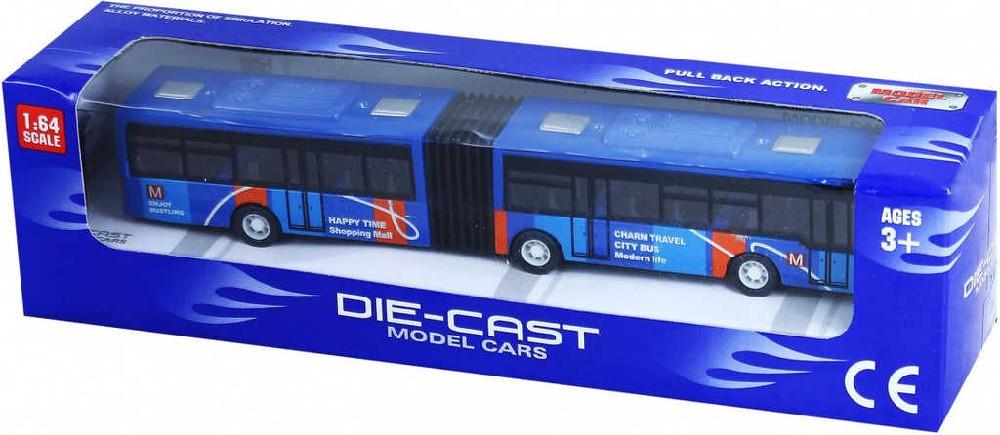 Autobus kovový 18cm kloubový městský 1:64 zpětný nátah 3 barvy