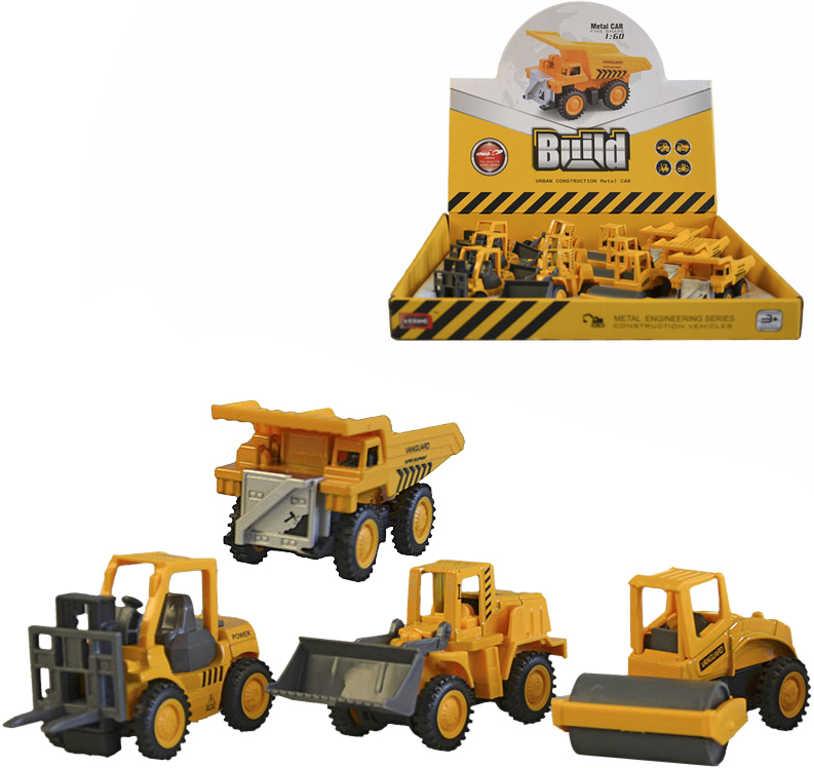 Auto žluté kovové stavební 7,5cm zpětný chod 4 druhy