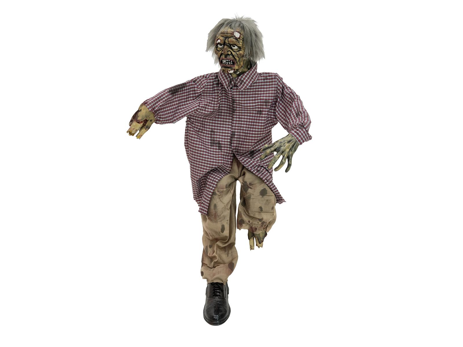 Halloween zombie s otáčecí hlavou, s LED efekty v očích, 120cm
