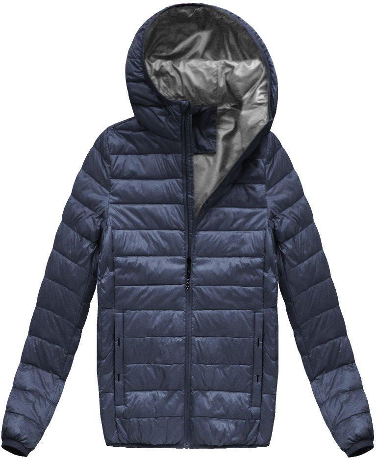 Tmavě modrá pánská bunda s přírodní vycpávkou (5023) - Tmavěmodrá/M