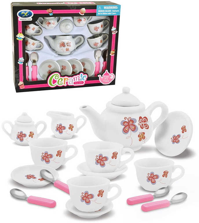 Nádobíčko dětské karamické set 17ks čajový servis s motýlky v krabici