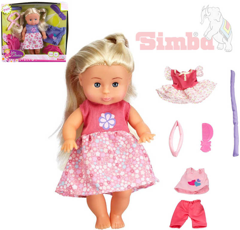 SIMBA Panenka Julia 21cm s oblečením set miminko s doplňky 7ks 2 druhy