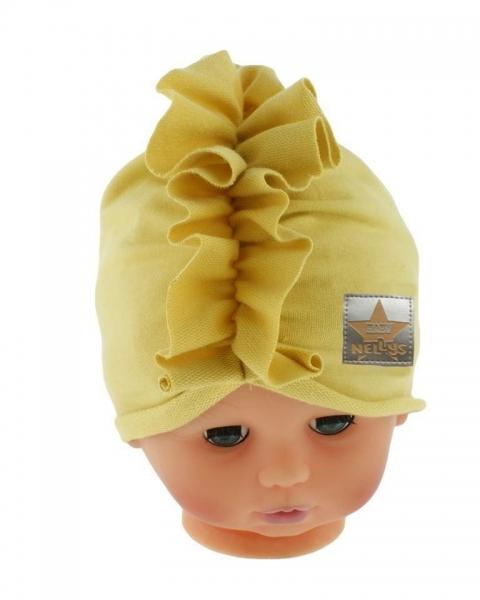 Baby Nellys Jarní/podzimní bavlněná čepice - turban