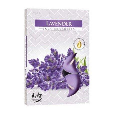 Aura Lavender - Levandule vonné čajové svíčky 6 ks