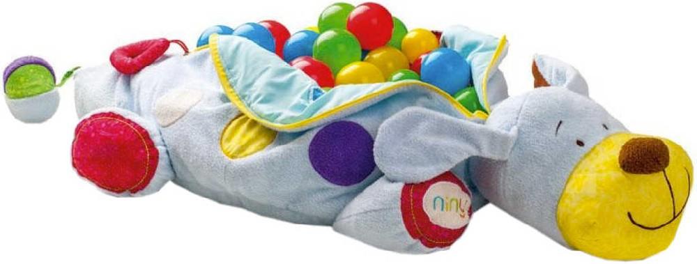 NINY Pejsek Ipo velký set se 60 míčky baby bazének s chrastítky na zip