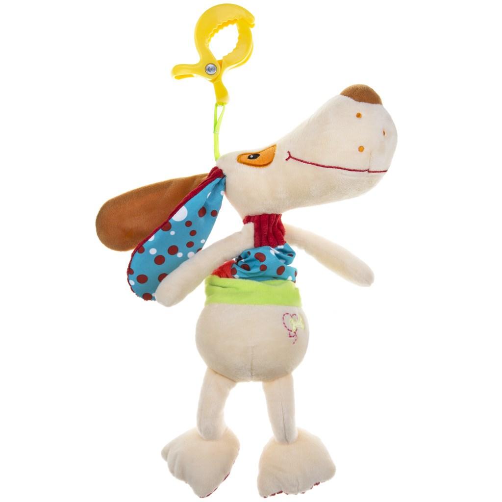 Plyšová hračka s hracím strojkem Akuku pejsek - béžová