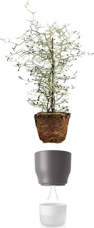 Samozavlažovací květináč křídově šedý v.18cm, 568154 eva solo