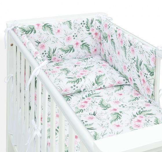 mamo-tato-3-dilny-set-do-postylky-s-mantinelem-ruzova-zahrada-120x90