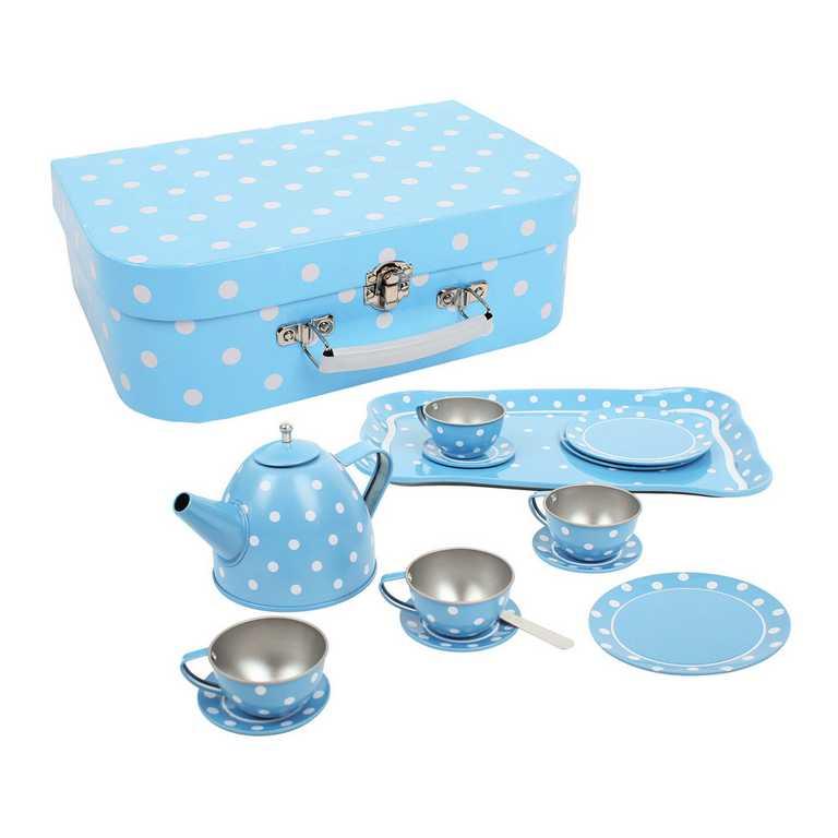 Bigjigs Toys Modrý puntikovaný čajový set