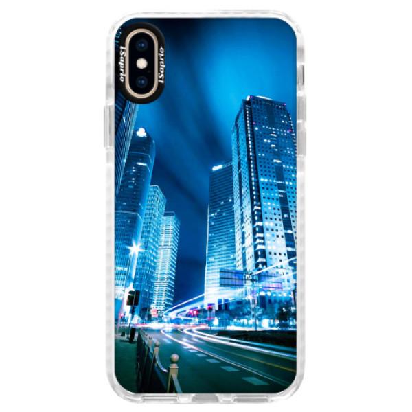 Silikonové pouzdro Bumper iSaprio - Night City Blue - iPhone XS