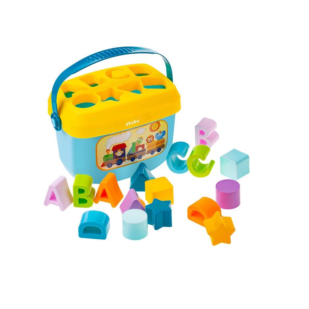 Edukační kbelík s kostkami 16 ks Akuku - multicolor