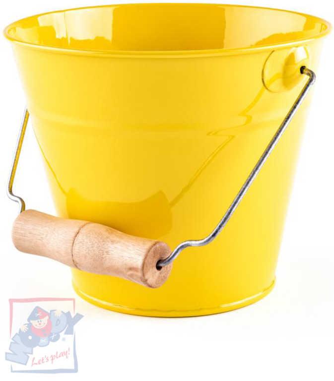 WOODY Kyblík dětský zahradní žlutý kov 15 cm dřevěná rukojeť