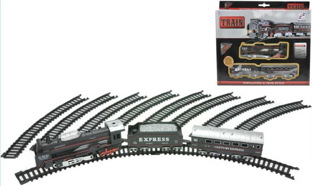 Vlak na baterie retro set s kolejemi kruhová trať Světlo Zvuk v krabici