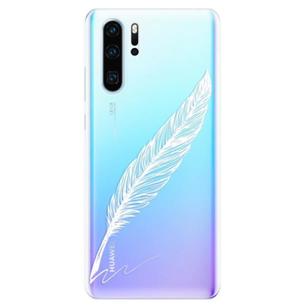 Odolné silikonové pouzdro iSaprio - Writing By Feather - white - Huawei P30 Pro