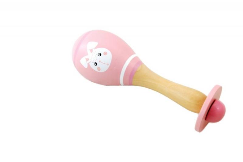 Adam Toys Dřevěné chrastítko rumba koule králíček - růžová