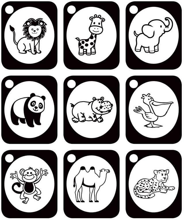 PROFIBABY DŘEVO Baby stimulační kartičky ZOO zvířátka set 9ks