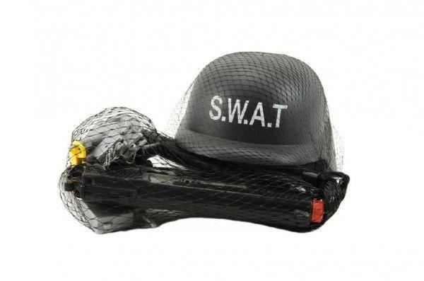 Sada SWAT helma+pistole na setrvačník s doplňky plast v síťce