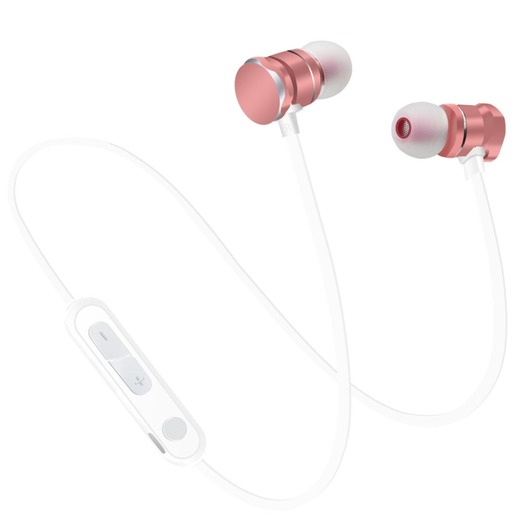 Bezdrátová sluchátka X3 Magnetic s mikrofonem - rose gold