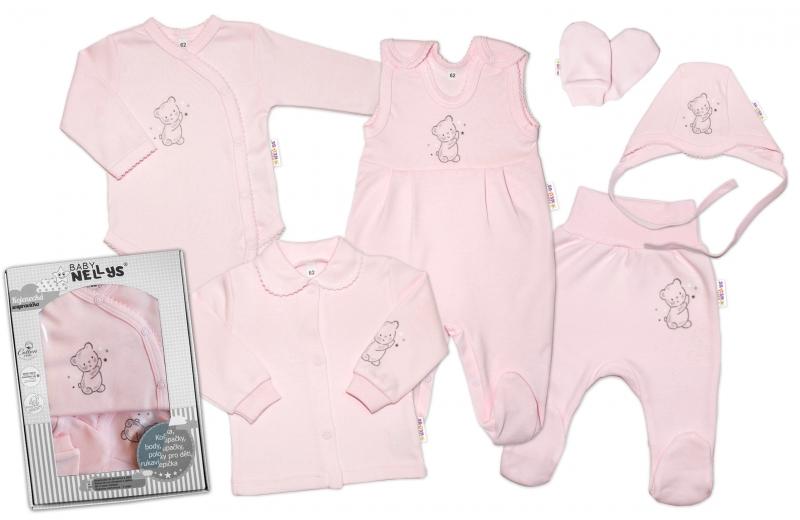 Baby Nellys Velká sada do porodnice TEDDY, 6-ti dílná v krabičce, růžová, vel. 62 - 62 (2-3m)