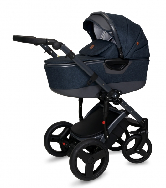 Kočárek Coto Baby 2 v 1 QUARA Eco 2021 - Len Navy Blue Dark Grey