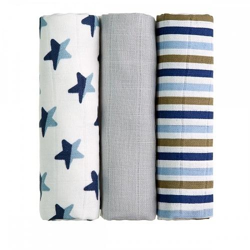 T-Tomi Dětské látkové tetra pleny LUX - Hvězdičky a proužky, modré
