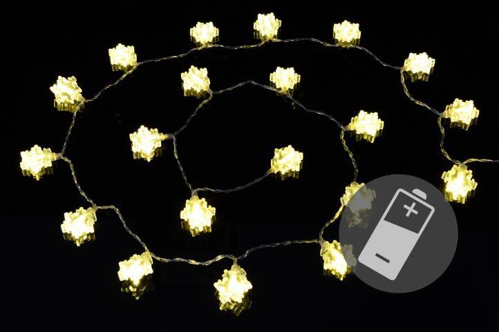 Vánoční světelný řetěz - zimní vločky, teple bílý