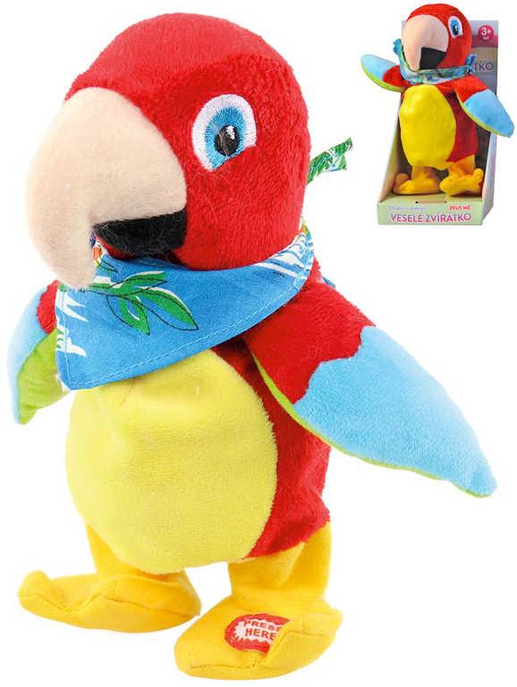 PLYŠ Papoušek s šátkem 22cm opakuje slova chodí na baterie Zvuk