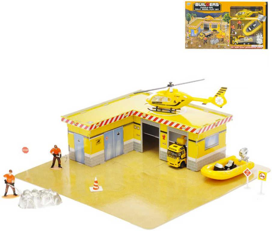 Stavební puzzle set 33ks + 2 auta kov 11-17cm s doplňky v krabičce