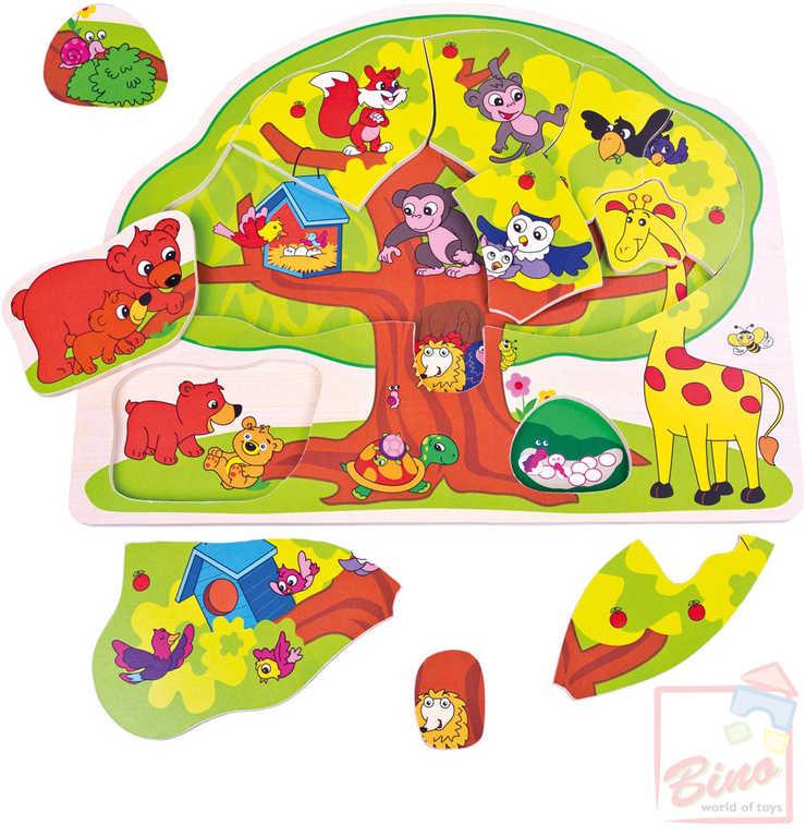 BINO DŘEVO Baby puzzle veselá zvířátka 12 dílků vkládačka strom