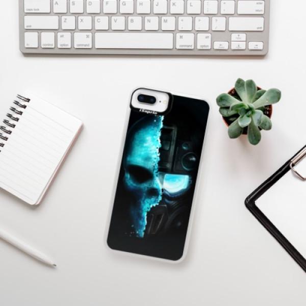 Neonové pouzdro Blue iSaprio - Roboskull - iPhone 8 Plus