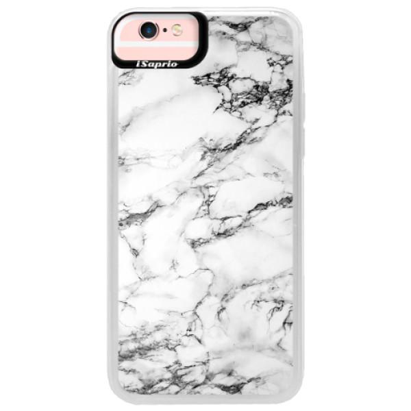 Neonové pouzdro Pink iSaprio - White Marble 01 - iPhone 6/6S