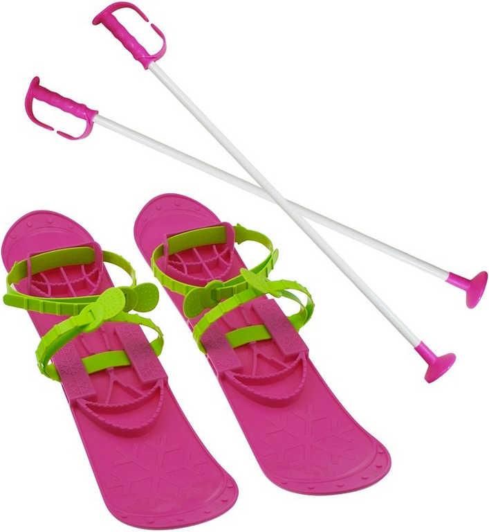 SULOV Big Foot Lyže dětské růžové s vázáním a 2 hůlkami plast