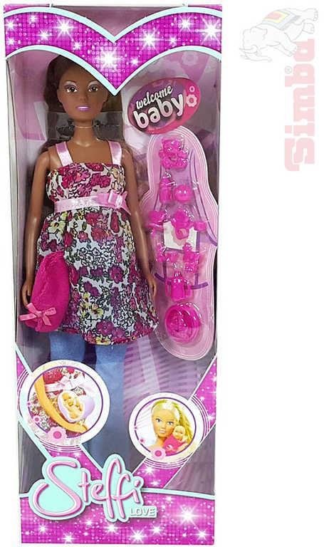 SIMBA Panenka Steffi černoška těhotná 29cm set s miminkem v bříšku
