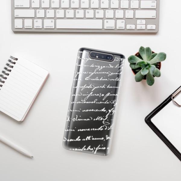 Odolné silikonové pouzdro iSaprio - Handwriting 01 - white - Samsung Galaxy A80