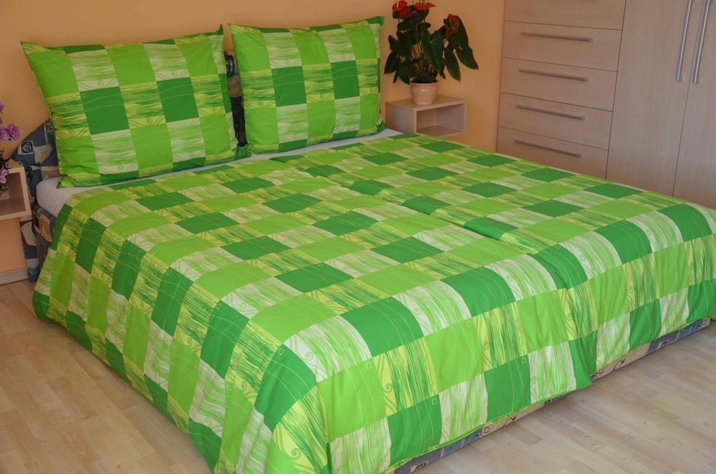 Povlečení francouzské krep 200x200, 70x90 Domino zelené, Výběr zapínání: