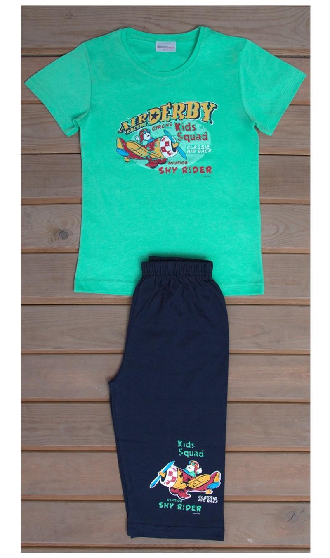Dětské pyžamo kapri Letadlo - Zelená