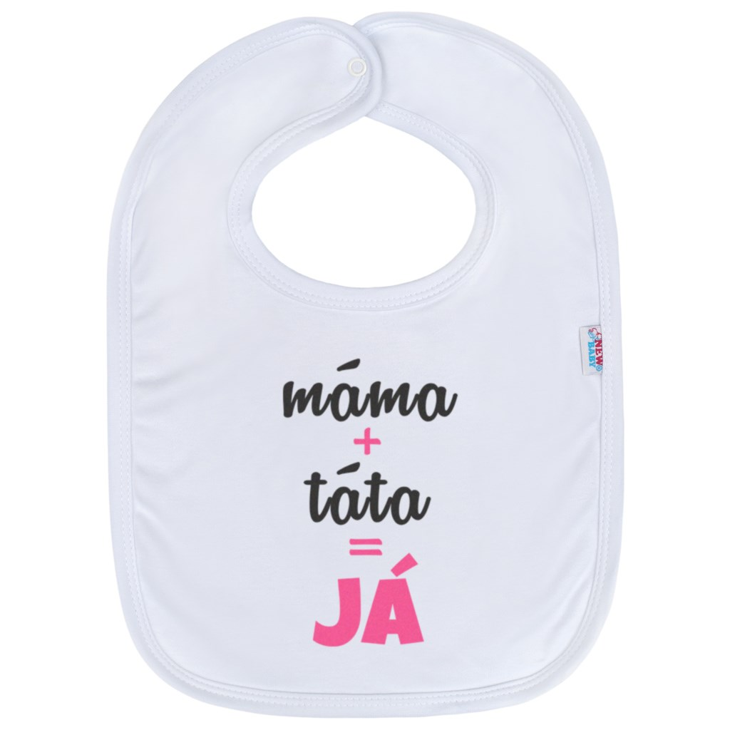 Kojenecký bavlněný bryndák New Baby máma+táta=JÁ - růžová
