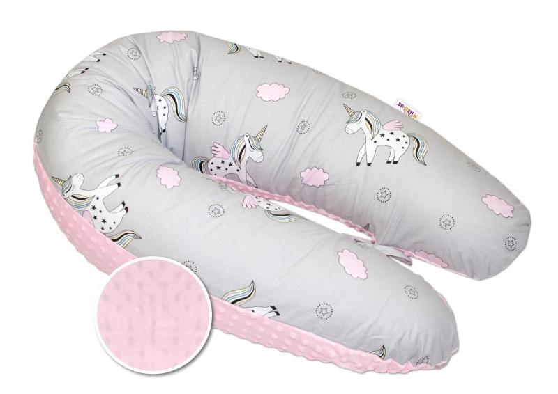 Kojící polštář - relaxační poduška Minky Baby Nellys, Jednorožec růžový/šedý