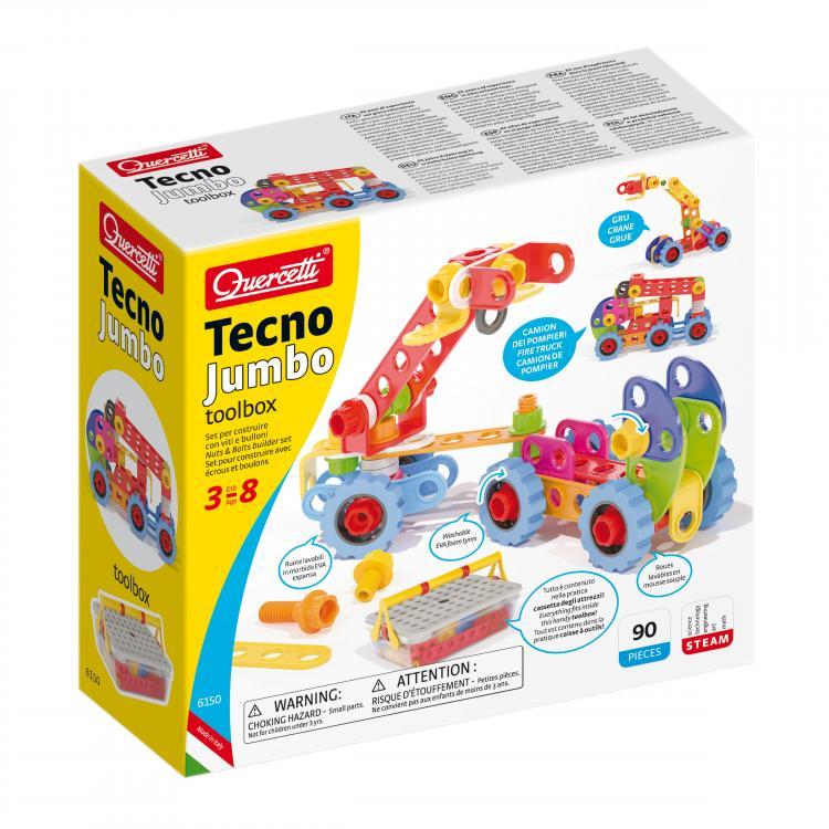 Quercetti Tecno Jumbo toolbox – stavebnice se šroubky a matičkamiQuercetti Tecno Jumbo toolbox – stavebnice se šroubky a matičkami